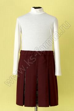 Школьная в складку бордовая юбка модель №3, цвет 59-01 бордо однотон.