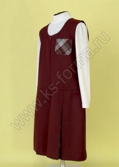 Сарафан для школы бордовый модель №2, 59-01