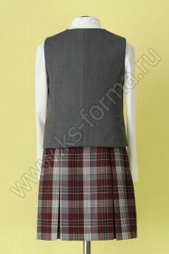 Школьный жилет для девочки комбинированный модель №2 цвет 59-01 серый