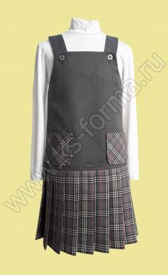 Школьный сарафан модель № 5, цвет 10-01 серый